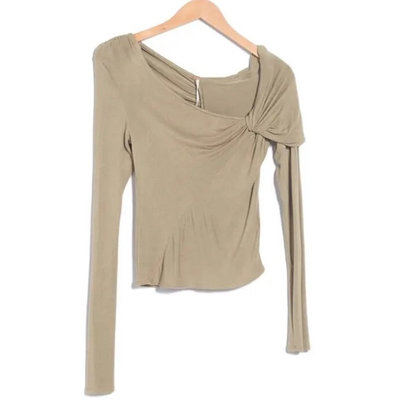 NWT Free People Brianne Asymmetrical Neck Top